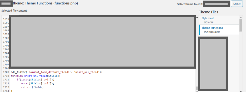 Adding filter into functions.php file to remove website field from wp comment form