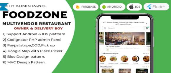 FoodZone Multivendor Mobile App in Flutter with Admin Panel