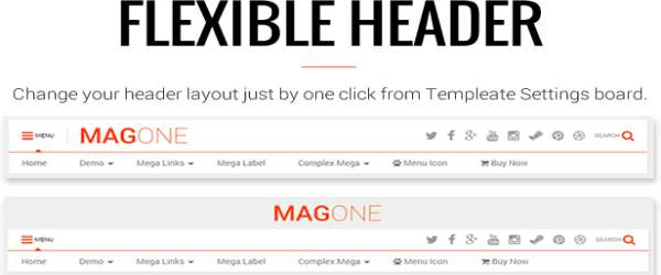 MagOne Blogger Template - Responsive News & Magazines header views