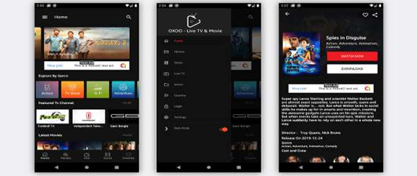 OXOO - Android Live TV & Movie Portal App with Subscription System Dark View