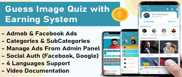 Quiz App with Earning System + Admin Panel demo