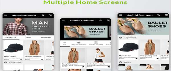 Android Ecommerce - Universal Android Ecommerce Store Full Mobile App with Laravel CMS home screens demo