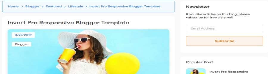 Invert Pro Responsive Blogger Template posts design