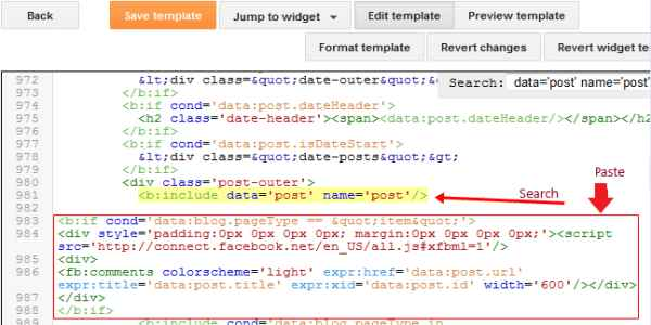 adding the facebook comments box into blogger step 2
