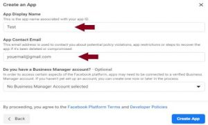 creating facebook app for blogger comments step 3
