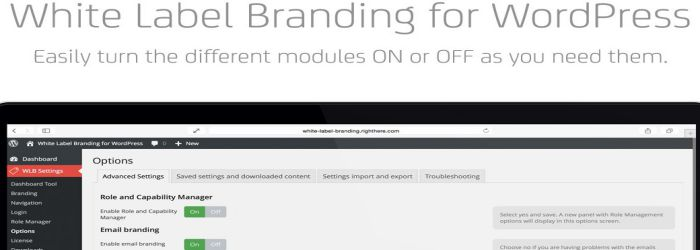 White Label Branding for WordPress features